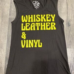 Whiskey leather and Vinyl tank top